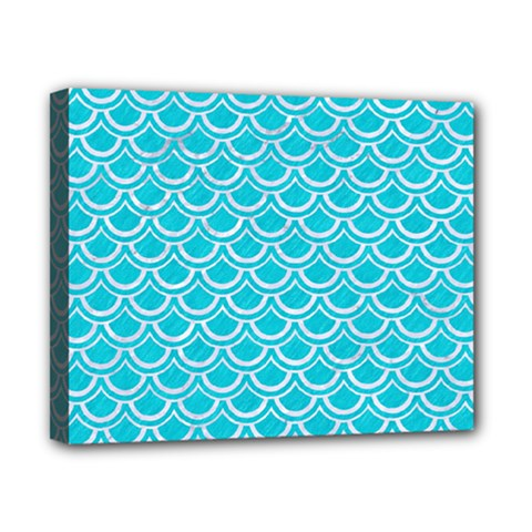 Scales2 White Marble & Turquoise Colored Pencil Canvas 10  X 8  by trendistuff