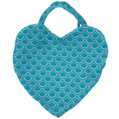 Scales2 White Marble & Turquoise Colored Pencil Giant Heart Shaped Tote by trendistuff