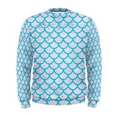Scales1 White Marble & Turquoise Colored Pencil (r) Men s Sweatshirt