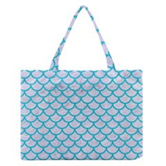 Scales1 White Marble & Turquoise Colored Pencil (r) Zipper Medium Tote Bag by trendistuff