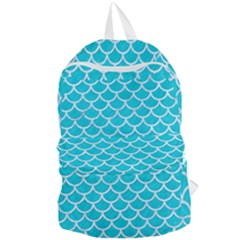 Scales1 White Marble & Turquoise Colored Pencil Foldable Lightweight Backpack