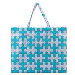 Puzzle1 White Marble & Turquoise Colored Pencil Zipper Large Tote Bag by trendistuff