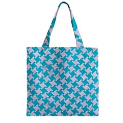 Houndstooth2 White Marble & Turquoise Colored Pencil Zipper Grocery Tote Bag by trendistuff