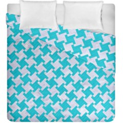 Houndstooth2 White Marble & Turquoise Colored Pencil Duvet Cover Double Side (king Size) by trendistuff