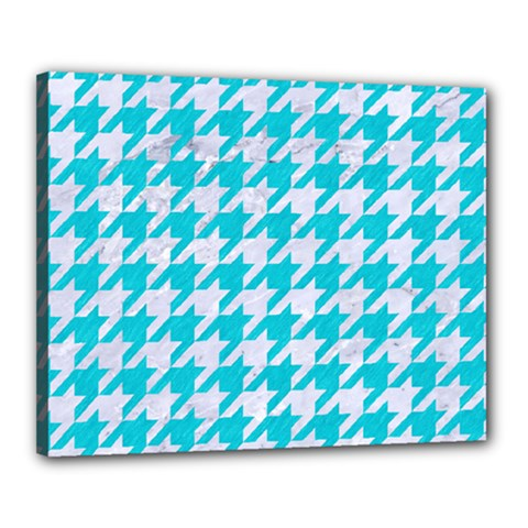 Houndstooth1 White Marble & Turquoise Colored Pencil Canvas 20  X 16  by trendistuff