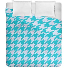 Houndstooth1 White Marble & Turquoise Colored Pencil Duvet Cover Double Side (california King Size) by trendistuff