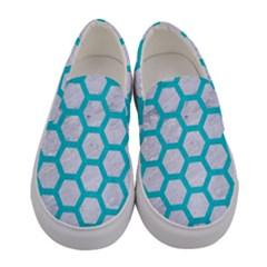 Hexagon2 White Marble & Turquoise Colored Pencil (r) Women s Canvas Slip Ons
