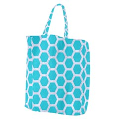 Hexagon2 White Marble & Turquoise Colored Pencil Giant Grocery Zipper Tote by trendistuff