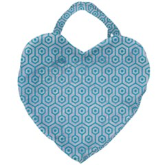 Hexagon1 White Marble & Turquoise Colored Pencil (r) Giant Heart Shaped Tote by trendistuff
