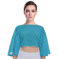 Hexagon1 White Marble & Turquoise Colored Pencil Tie Back Butterfly Sleeve Chiffon Top