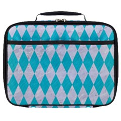Diamond1 White Marble & Turquoise Colored Pencil Full Print Lunch Bag