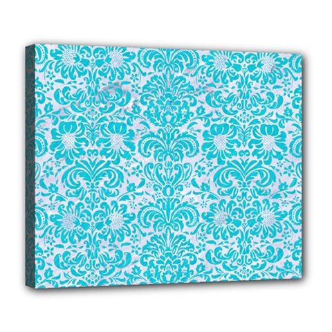 Damask2 White Marble & Turquoise Colored Pencil (r) Deluxe Canvas 24  X 20   by trendistuff