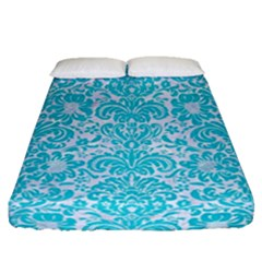 Damask2 White Marble & Turquoise Colored Pencil (r) Fitted Sheet (queen Size) by trendistuff