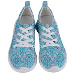 Damask1 White Marble & Turquoise Colored Pencil (r) Women s Lightweight Sports Shoes