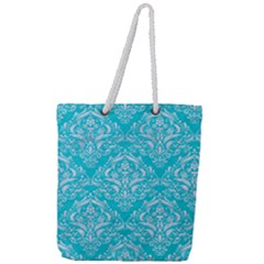 Damask1 White Marble & Turquoise Colored Pencil Full Print Rope Handle Tote (large) by trendistuff