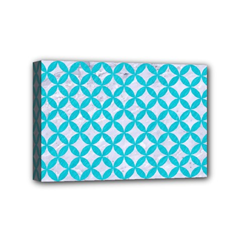 Circles3 White Marble & Turquoise Colored Pencil (r) Mini Canvas 6  X 4  by trendistuff