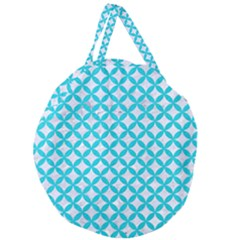 Circles3 White Marble & Turquoise Colored Pencil (r) Giant Round Zipper Tote by trendistuff