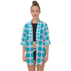 Circles1 White Marble & Turquoise Colored Pencil (r) Open Front Chiffon Kimono