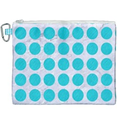 Circles1 White Marble & Turquoise Colored Pencil (r) Canvas Cosmetic Bag (xxxl) by trendistuff