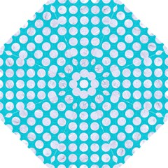 Circles1 White Marble & Turquoise Colored Pencil Folding Umbrellas by trendistuff
