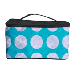 Circles1 White Marble & Turquoise Colored Pencil Cosmetic Storage Case by trendistuff