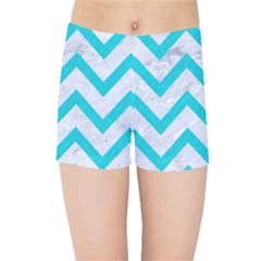 Chevron9 White Marble & Turquoise Colored Pencil (r) Kids Sports Shorts