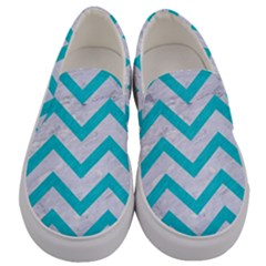 Chevron9 White Marble & Turquoise Colored Pencil (r) Men s Canvas Slip Ons