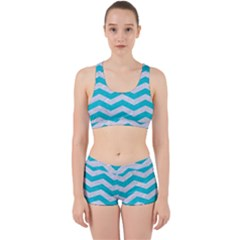 Chevron3 White Marble & Turquoise Colored Pencil Work It Out Gym Set
