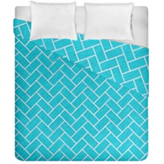 Brick2 White Marble & Turquoise Colored Pencil Duvet Cover Double Side (california King Size)