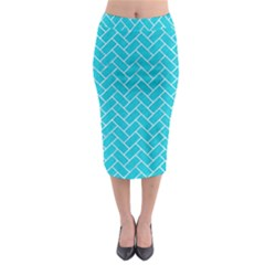 Brick2 White Marble & Turquoise Colored Pencil Midi Pencil Skirt by trendistuff