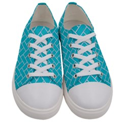 Brick2 White Marble & Turquoise Colored Pencil Women s Low Top Canvas Sneakers