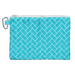 Brick2 White Marble & Turquoise Colored Pencil Canvas Cosmetic Bag (xl) by trendistuff