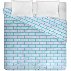 Brick1 White Marble & Turquoise Colored Pencil (r) Duvet Cover Double Side (king Size) by trendistuff
