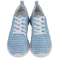 Brick1 White Marble & Turquoise Colored Pencil (r) Men s Lightweight Sports Shoes
