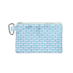 Brick1 White Marble & Turquoise Colored Pencil (r) Canvas Cosmetic Bag (small) by trendistuff