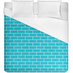 Brick1 White Marble & Turquoise Colored Pencil Duvet Cover (king Size) by trendistuff