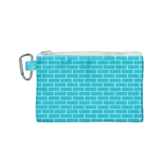 Brick1 White Marble & Turquoise Colored Pencil Canvas Cosmetic Bag (small) by trendistuff