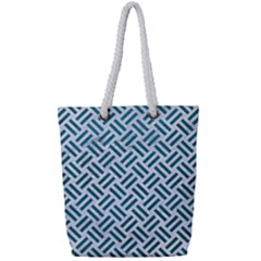 Woven2 White Marble & Teal Leather (r) Full Print Rope Handle Tote (small) by trendistuff