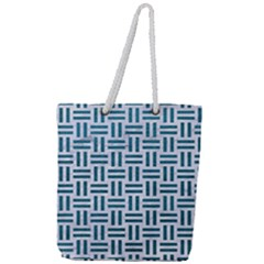 Woven1 White Marble & Teal Leather (r) Full Print Rope Handle Tote (large) by trendistuff