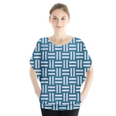 Woven1 White Marble & Teal Leather Blouse