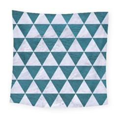Triangle3 White Marble & Teal Leather Square Tapestry (large) by trendistuff