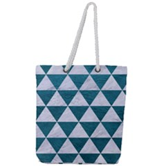 Triangle3 White Marble & Teal Leather Full Print Rope Handle Tote (large) by trendistuff