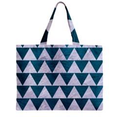 Triangle2 White Marble & Teal Leather Zipper Mini Tote Bag by trendistuff