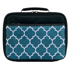 Tile1 White Marble & Teal Leather Lunch Bag