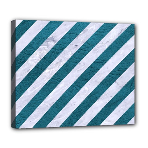 Stripes3 White Marble & Teal Leather (r) Deluxe Canvas 24  X 20   by trendistuff