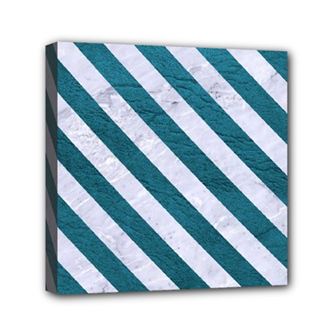 Stripes3 White Marble & Teal Leather Canvas Travel Bag by trendistuff