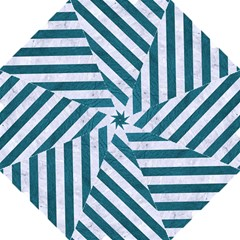 Stripes3 White Marble & Teal Leather Hook Handle Umbrellas (medium) by trendistuff