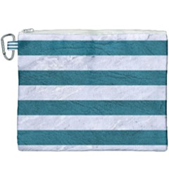 Stripes2white Marble & Teal Leather Canvas Cosmetic Bag (xxxl) by trendistuff