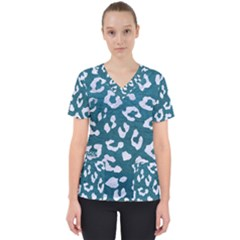 Skin5 White Marble & Teal Leather (r) Scrub Top
