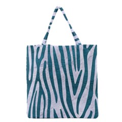 Skin4 White Marble & Teal Leather Grocery Tote Bag